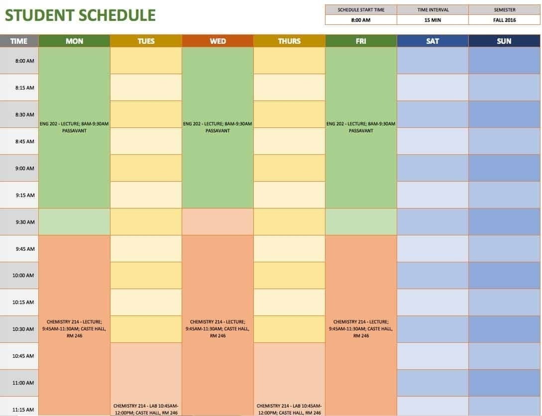 Collect Time Slot Excel Template