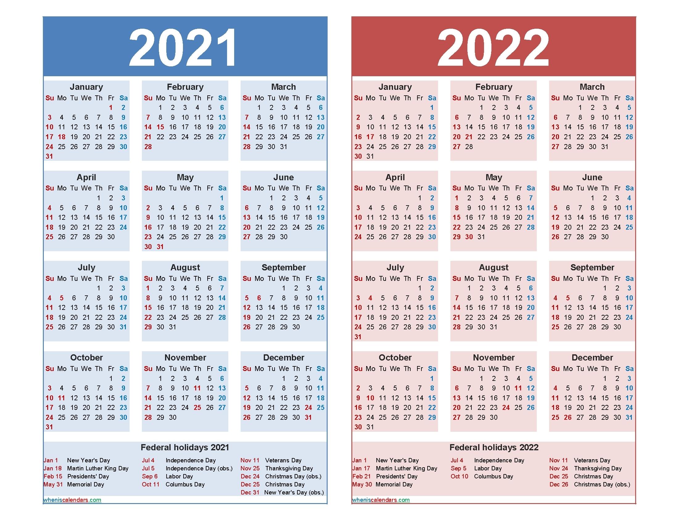 Get 3 Year Calendar Printable 2021 2021 2022