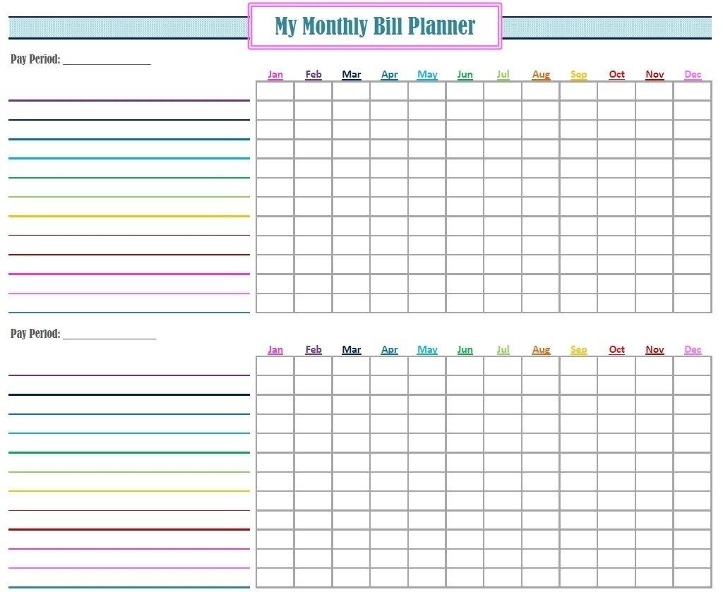 Get Blank Monthly Bills Calendar