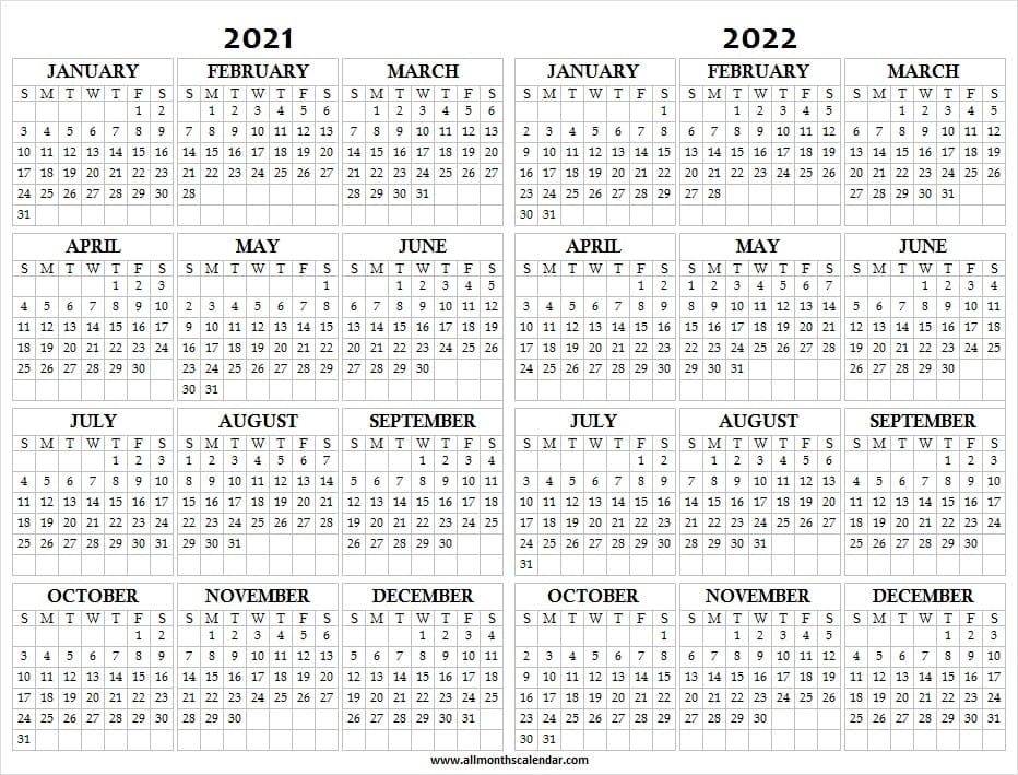 Get Calendar 2021 2022 2022 Printable