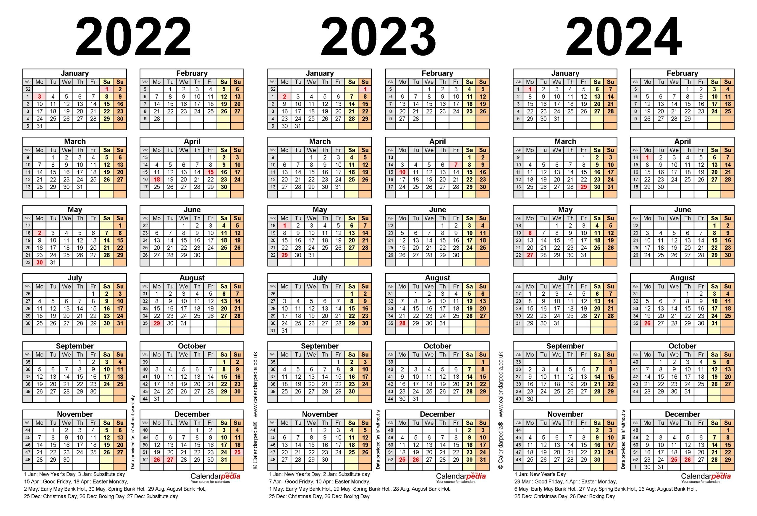 Get Calendars 2021 2022 2023 Free Printable