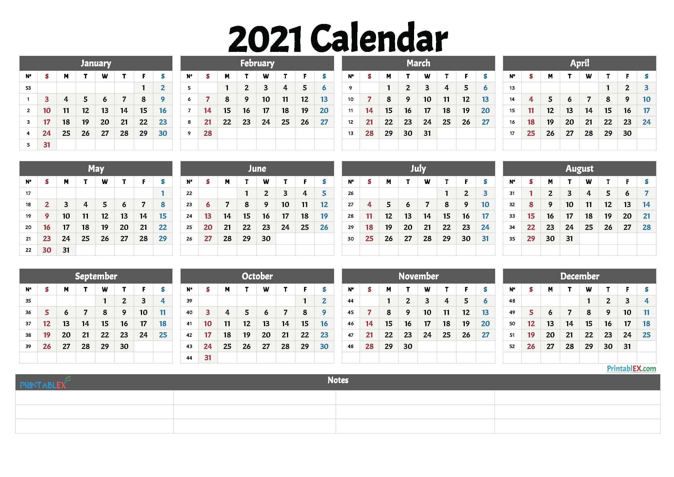 Get Excel Calendar 2021 With Week Numbers