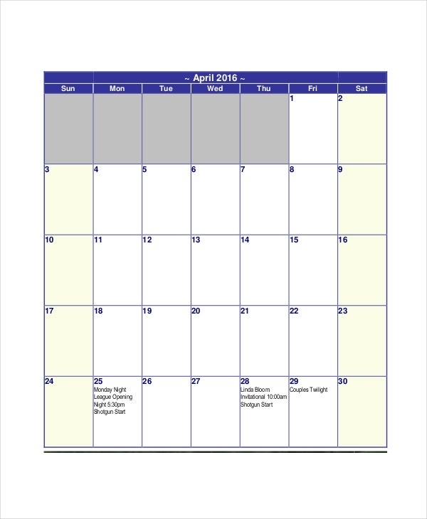 Get Free 30 Day Calendar Printable