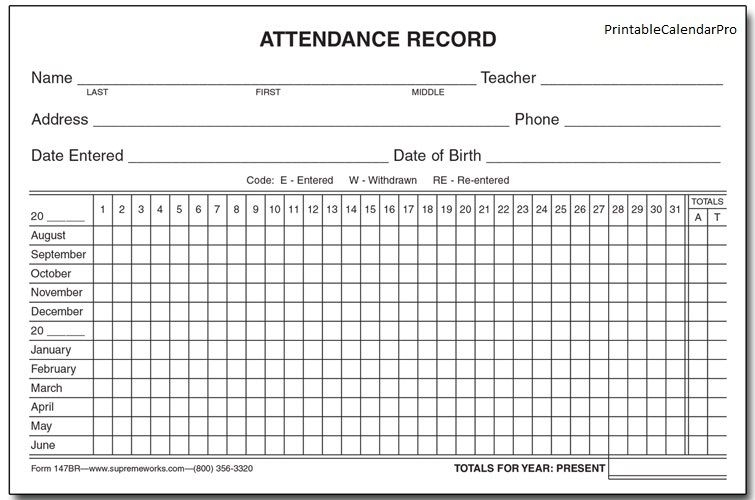 Get Free Attendance Calendar Printable