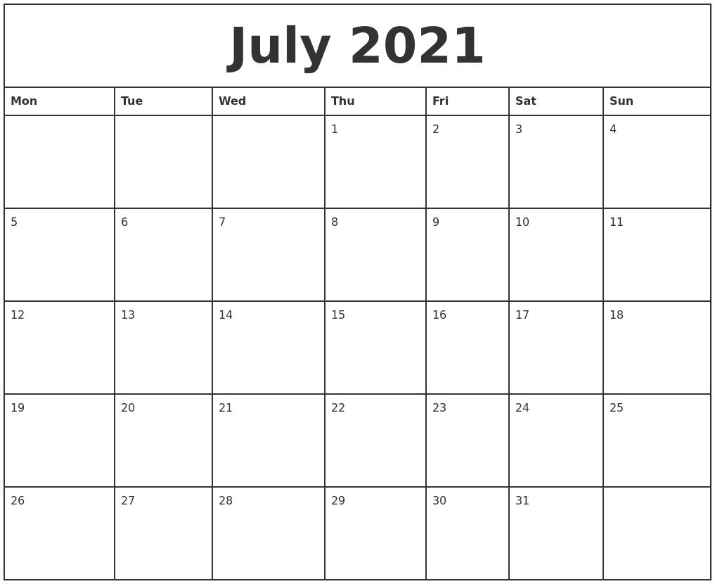 Get Free Calendar 2021 Monday To Sunday