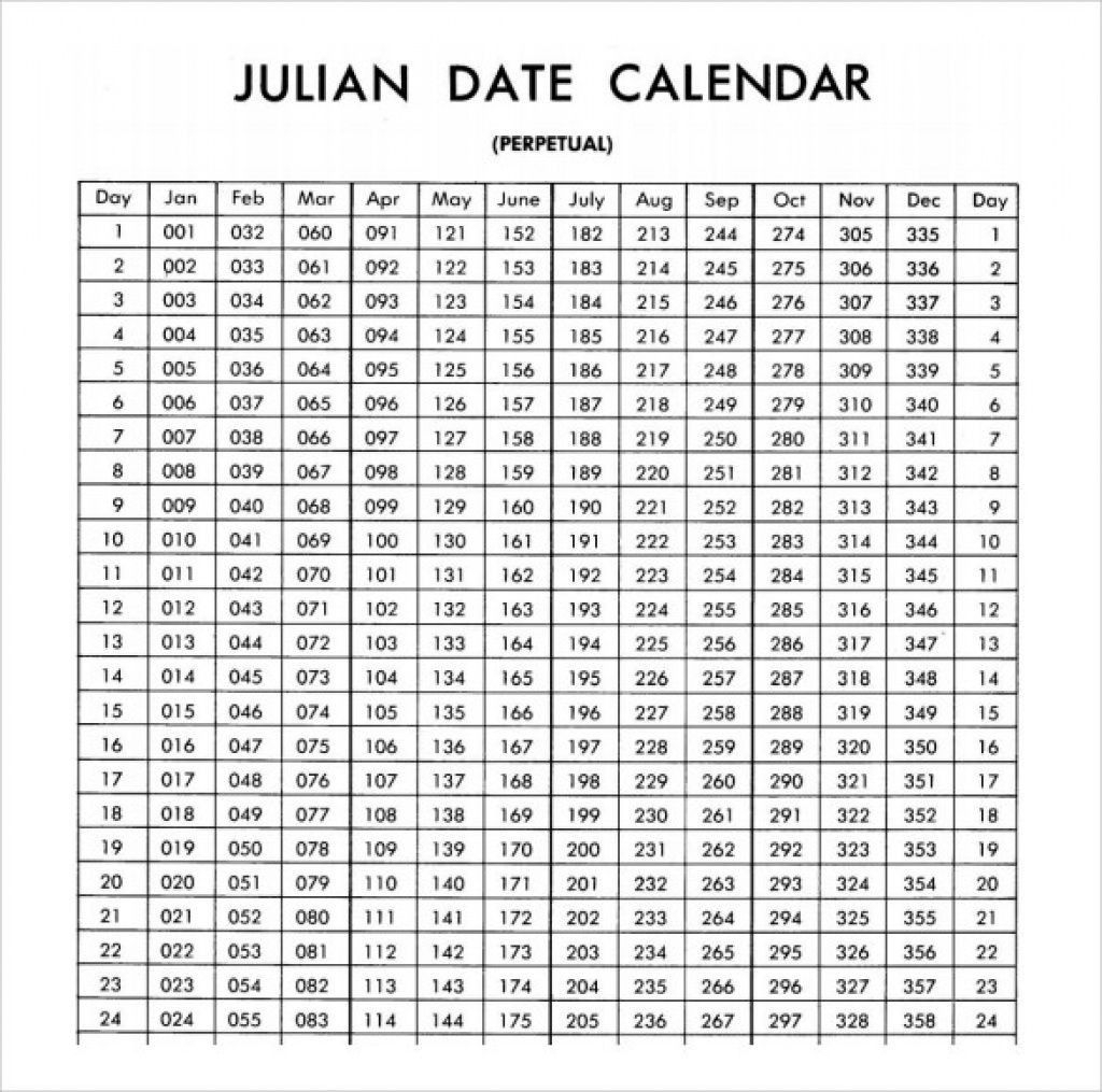 Get Julian Date Calendar Non Leap Year Printable