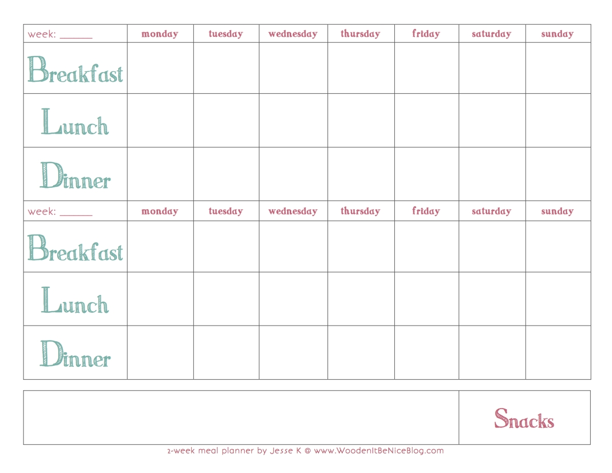 Get Meal Plan Calendar Printable