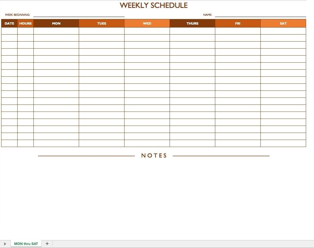 Get Mon Friday Hourly Schedule