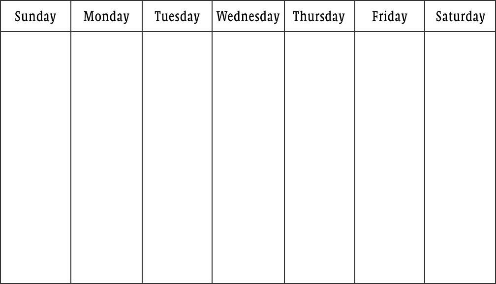 Get Monday Thru Sunday Calendar By Business Hours