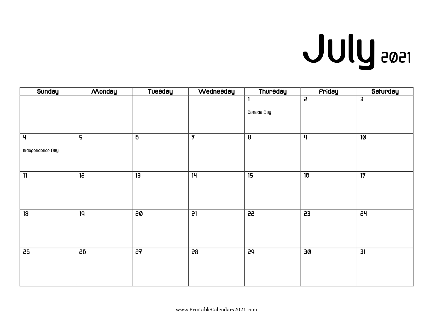 Get Print Free July 2021 Calendar Without Downloading