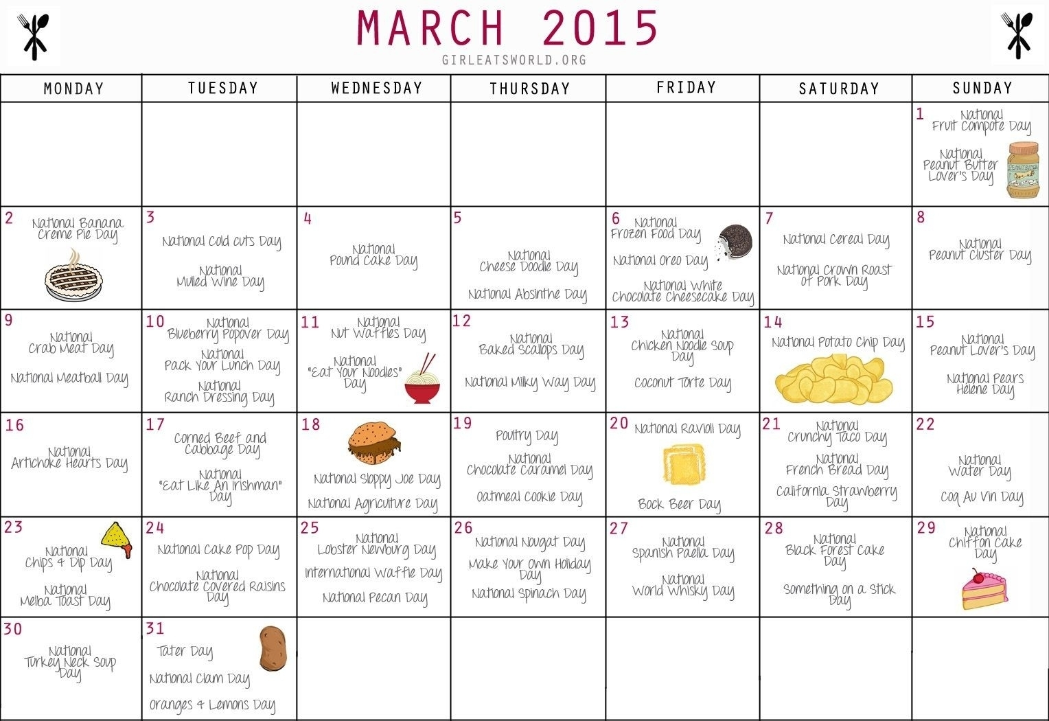 Get Printable National Days Calendar 2021
