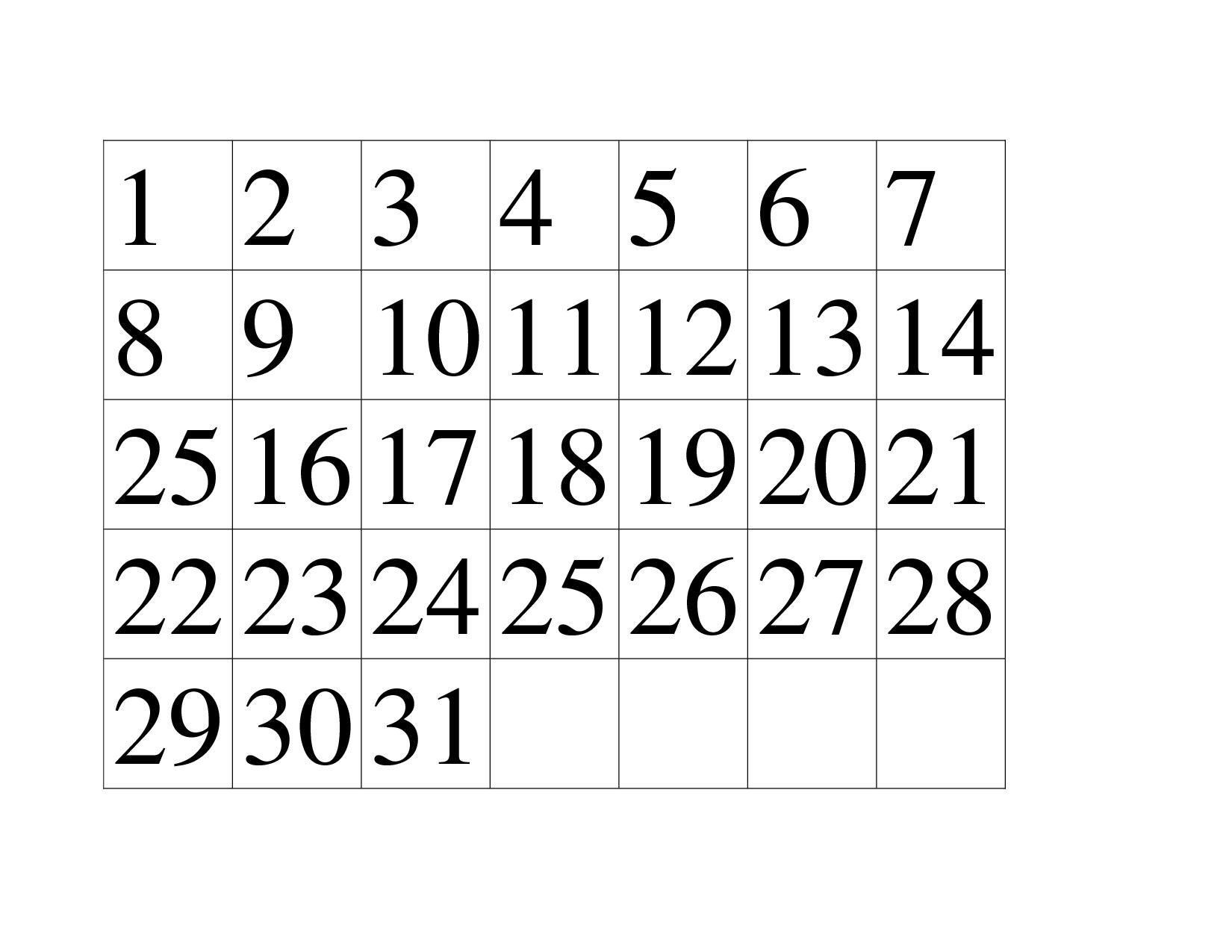 Get Printable Numbers 1 31