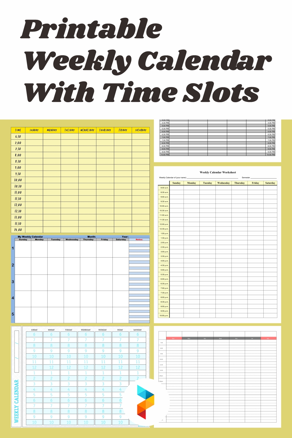 Get Printable Schedule With Time Slots
