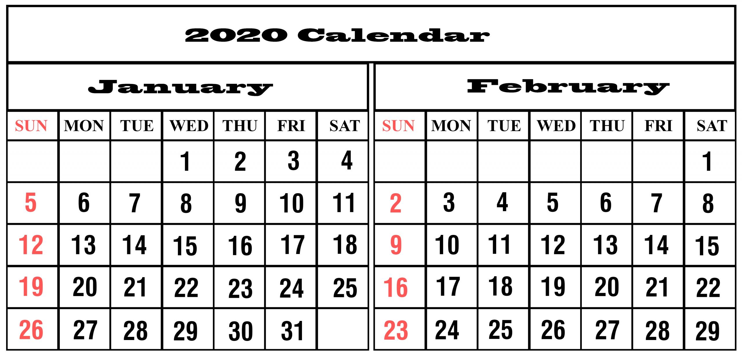 Get Printable Two Month Calendar
