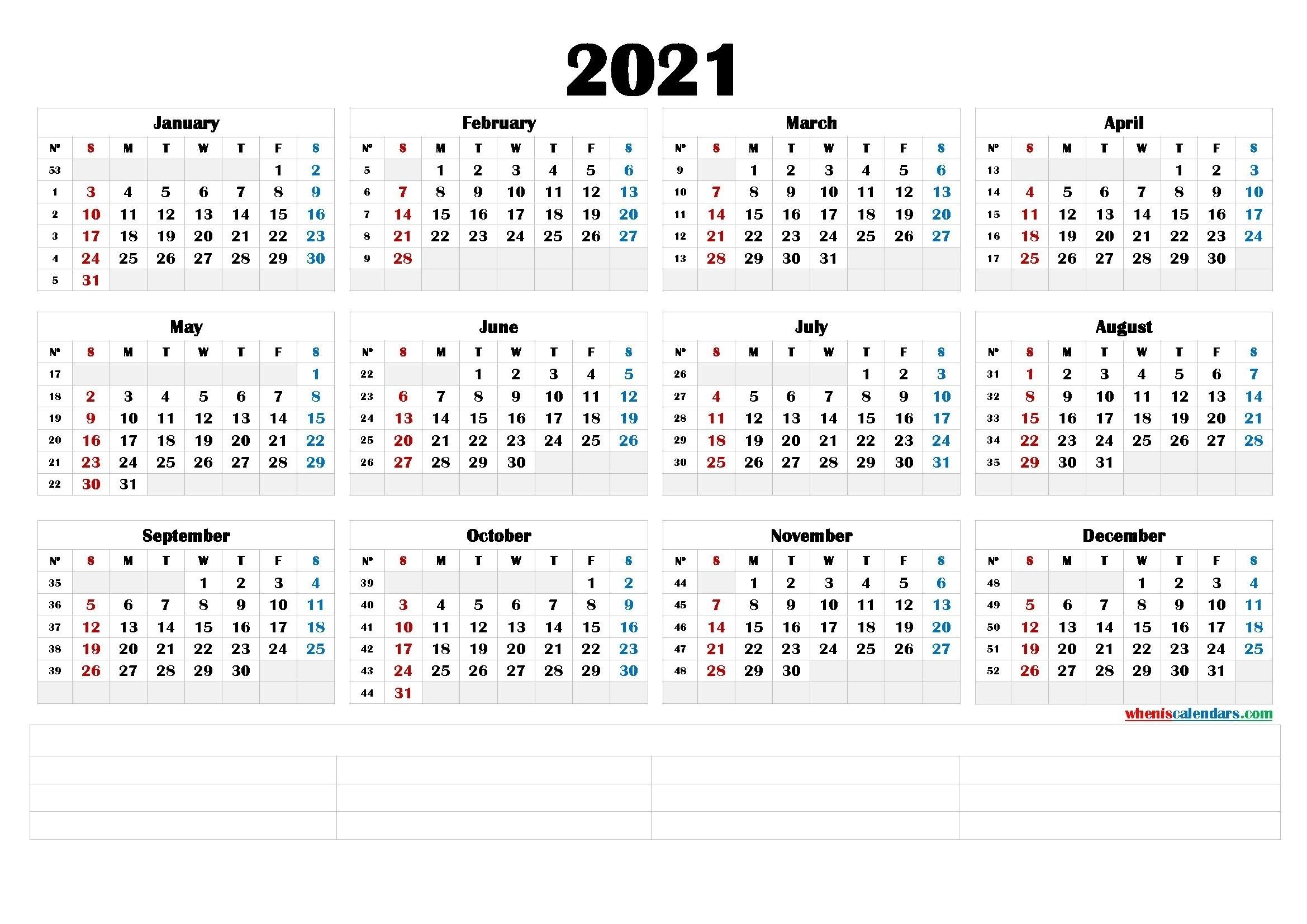 Get Week Wise 2021 Calendar
