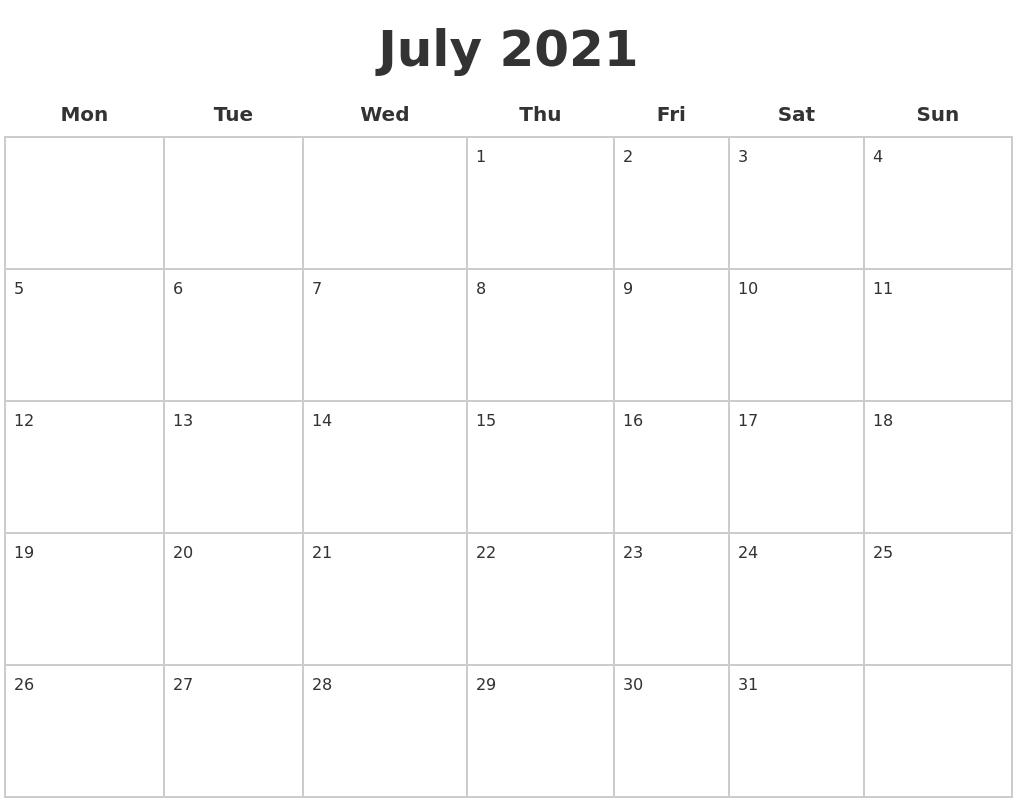 Pick 2021 Monday To Sunday Calendar Printable Free