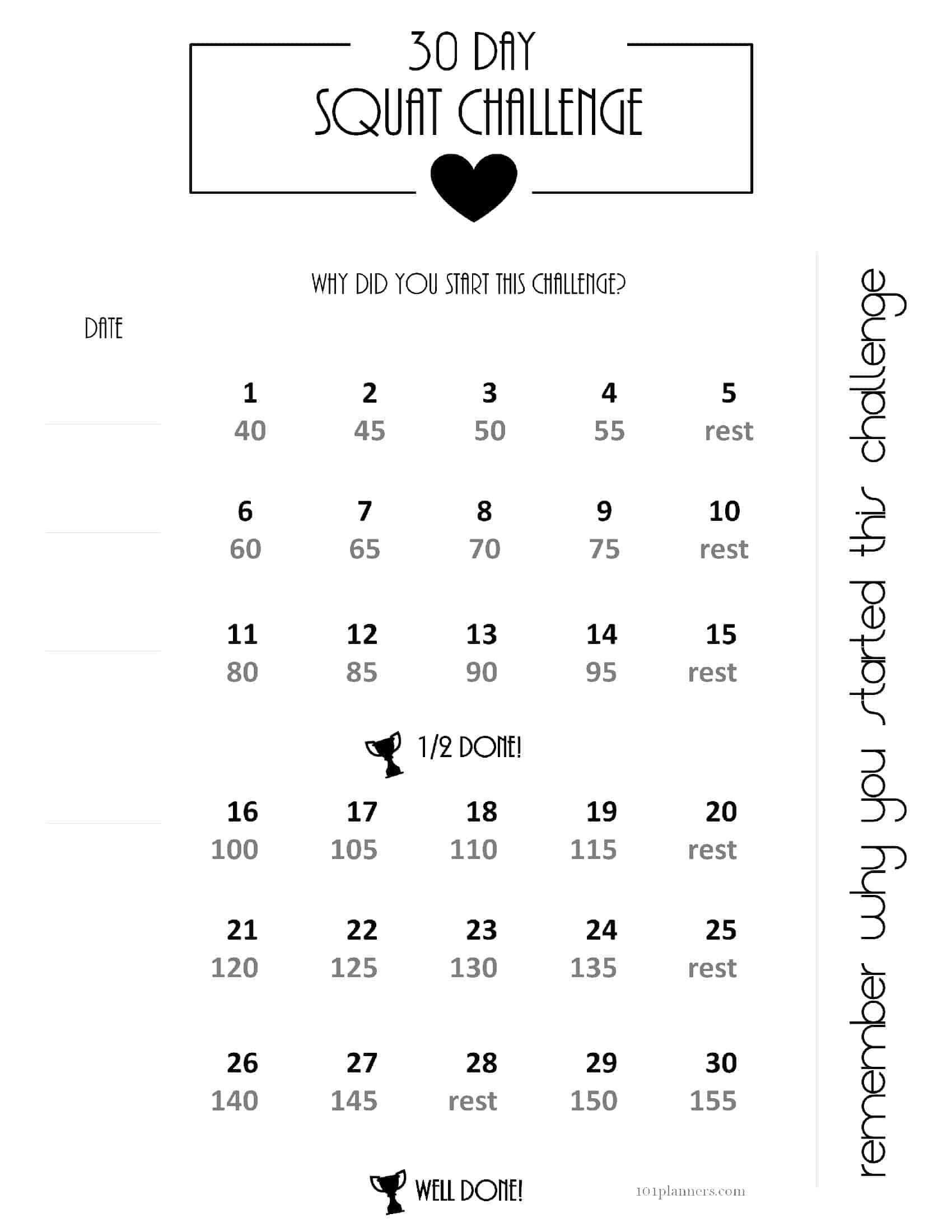 Pick 30 Day Calendar Print Out