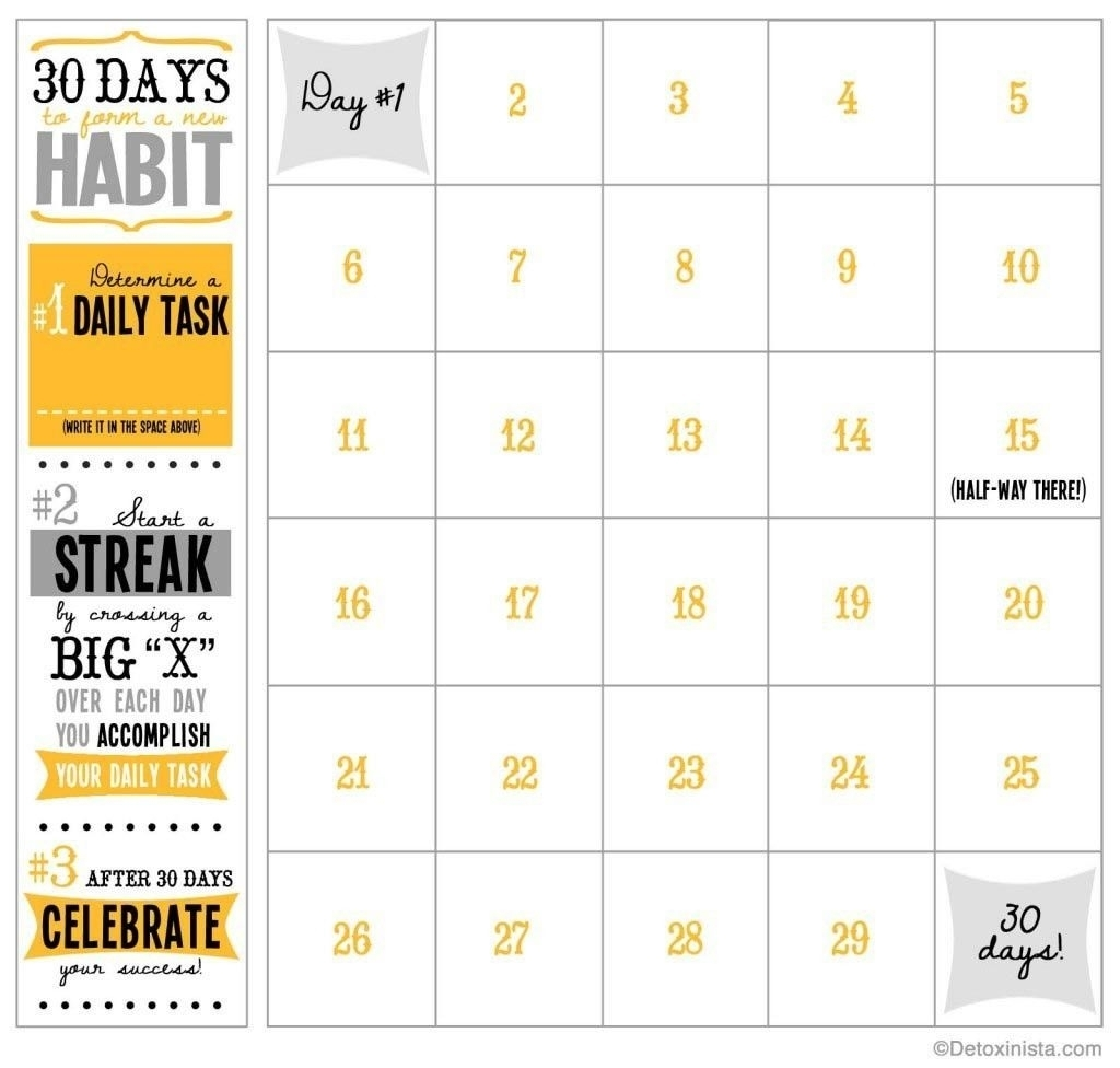 Pick 30 Day Calendar Template