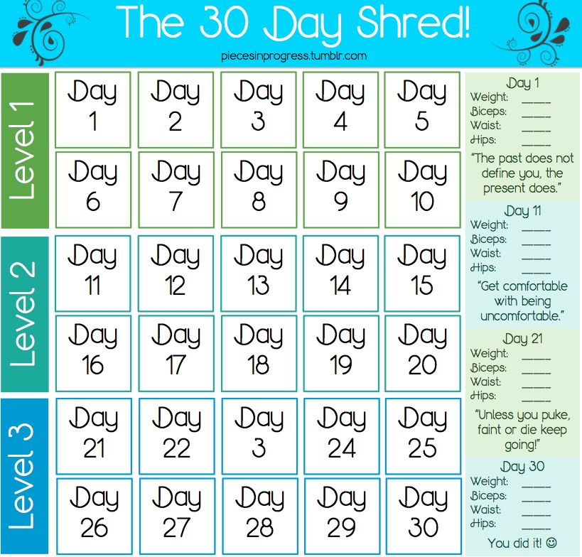 Pick 30 Day Calender