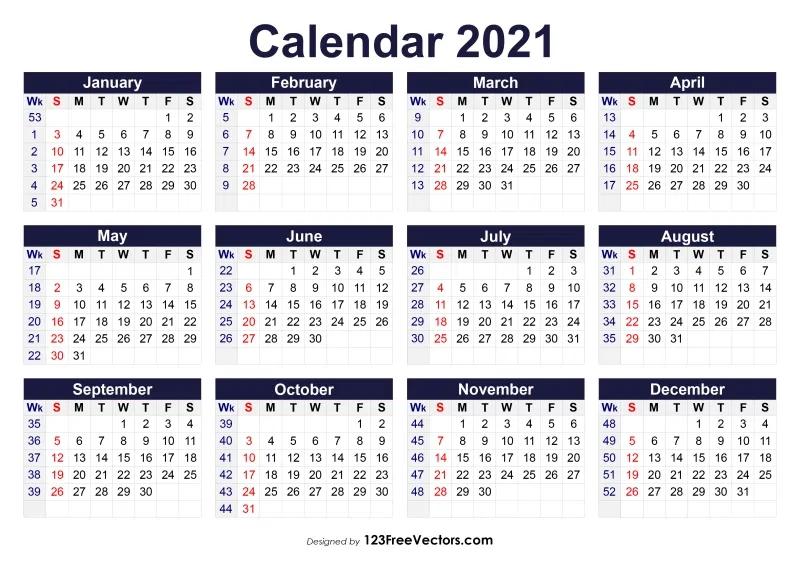 Pick Excel Calendar 2021 With Week Numbers