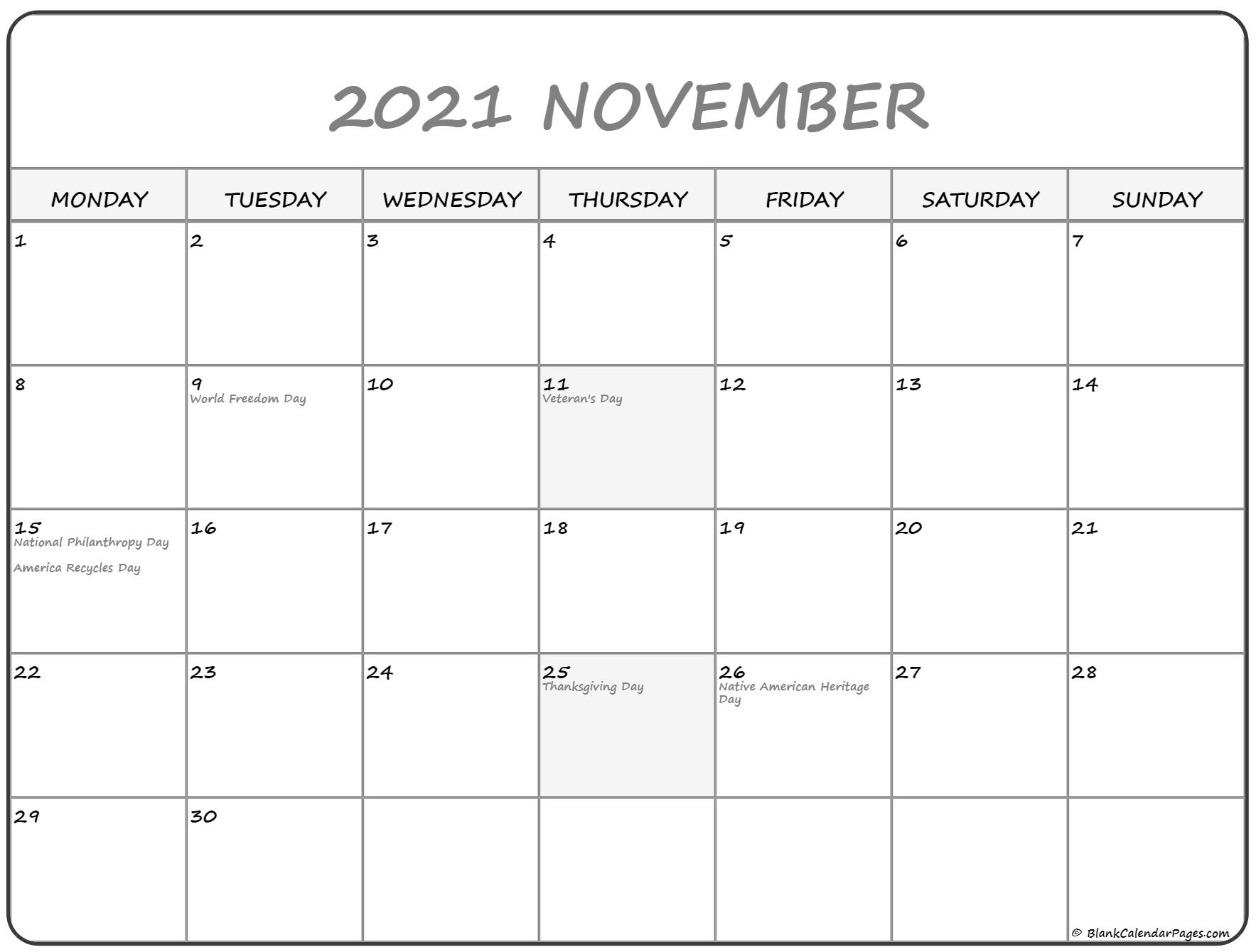 Pick Free Calendar 2021 Monday To Sunday