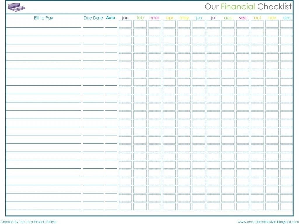 Pick Free Monthly Bill Payment Worksheet