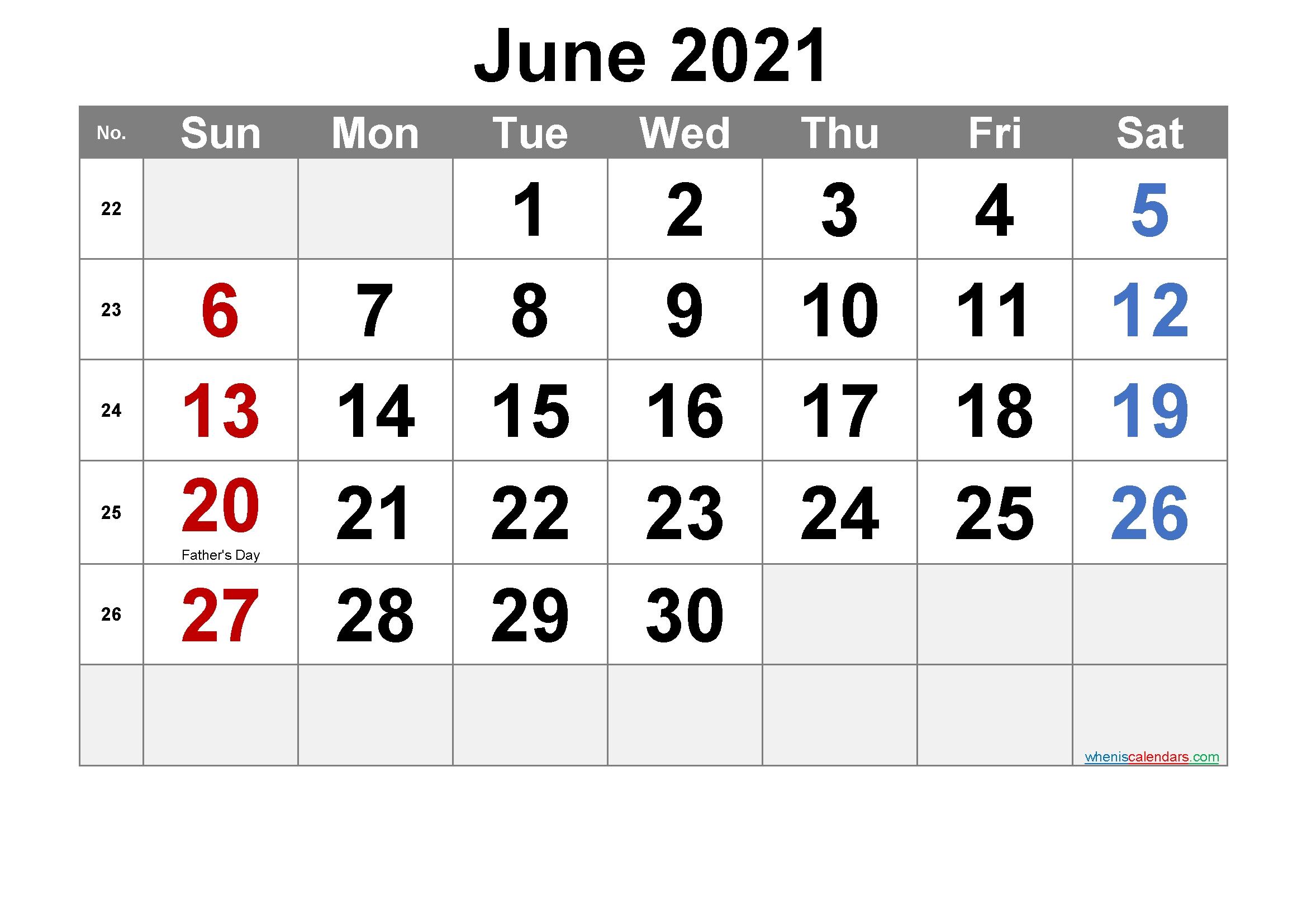Pick June 2021 To June 2021 Calendar