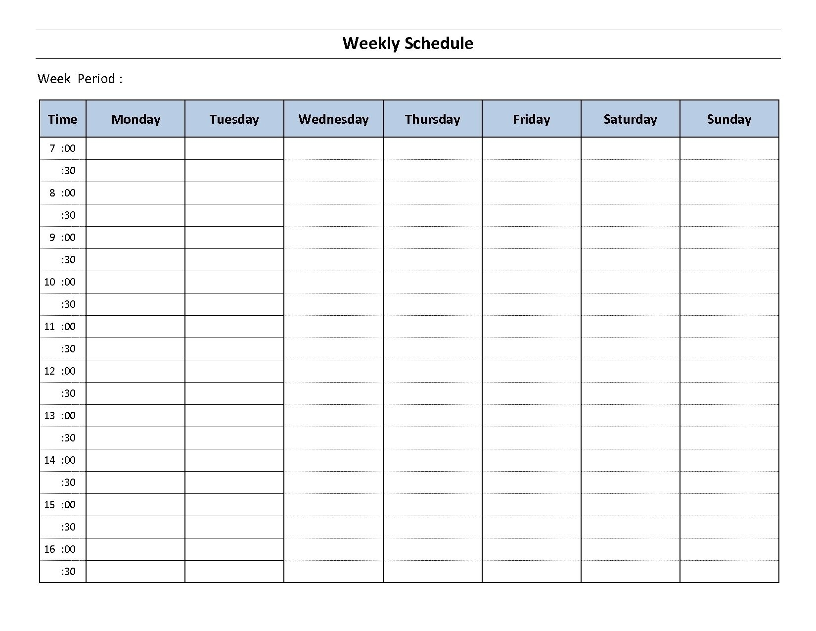 Pick Monday Through Friday To Do Templete