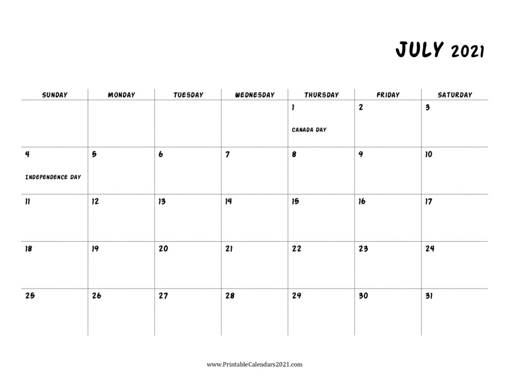 Pick Print Free July 2021 Calendar Without Downloading