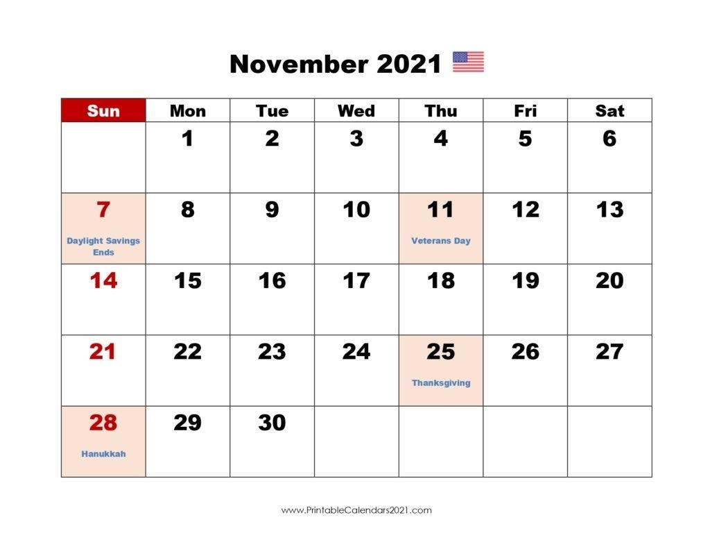 Pick Print Free November 2021 Calendar Without Downloading