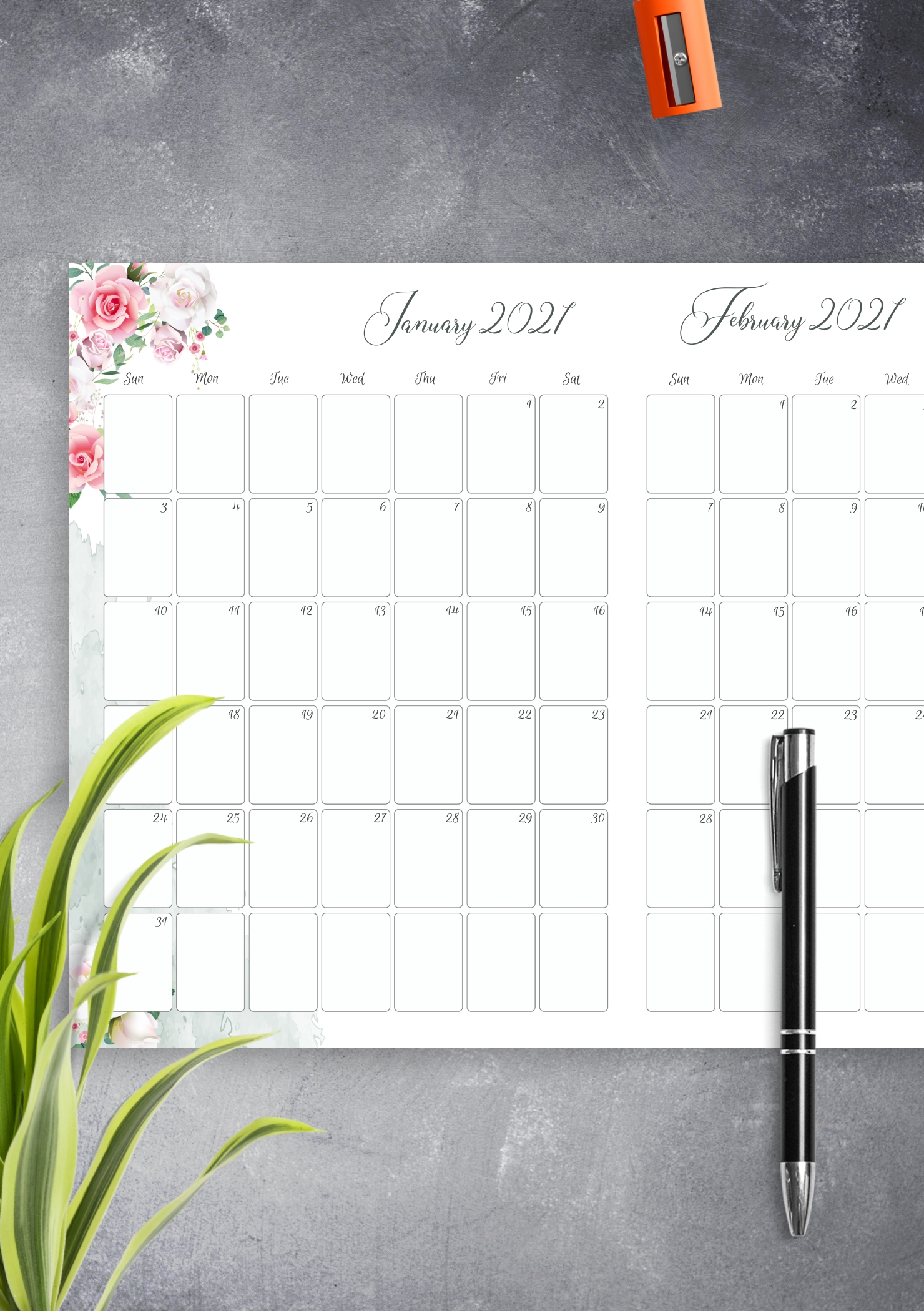 Pick Printable Two Month Calendar