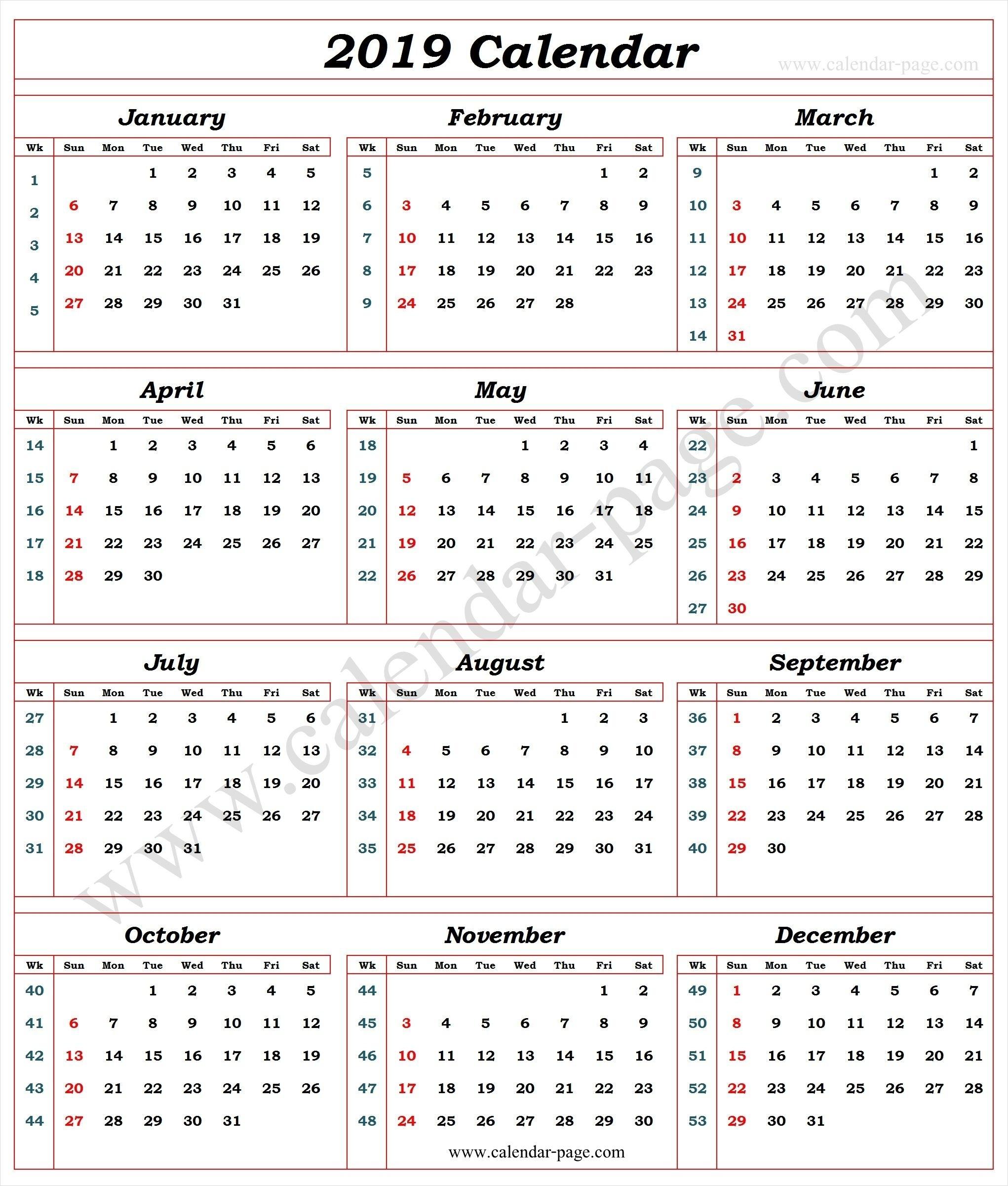 Pick Week Wise Calendar