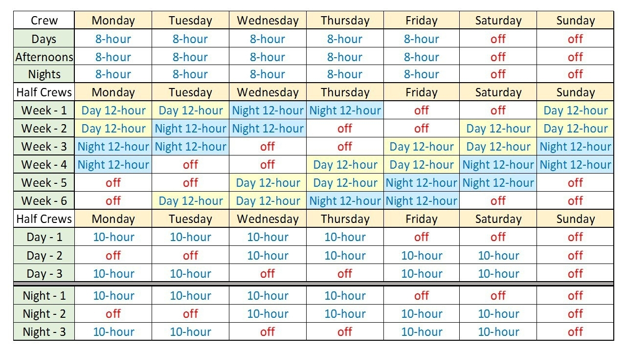 Take 12 Hour Shift Work Schedules Template