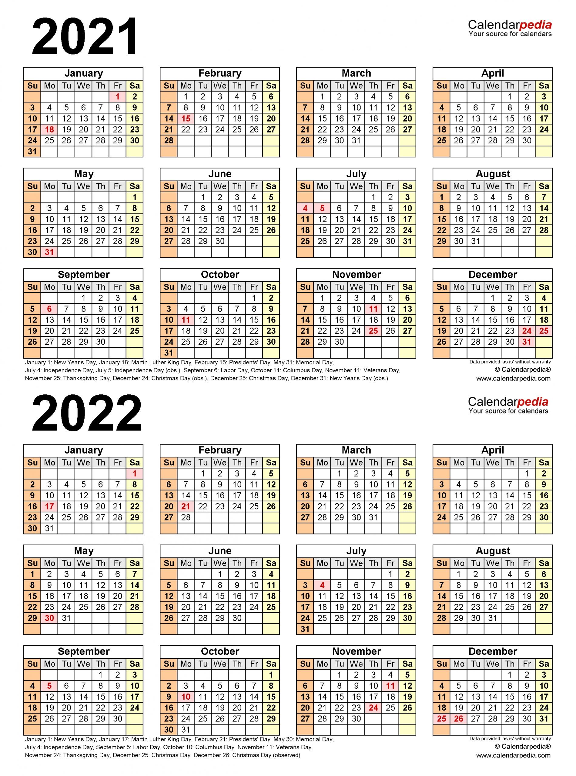 Take 3 Year Calendar Printable 2021 2021 2022