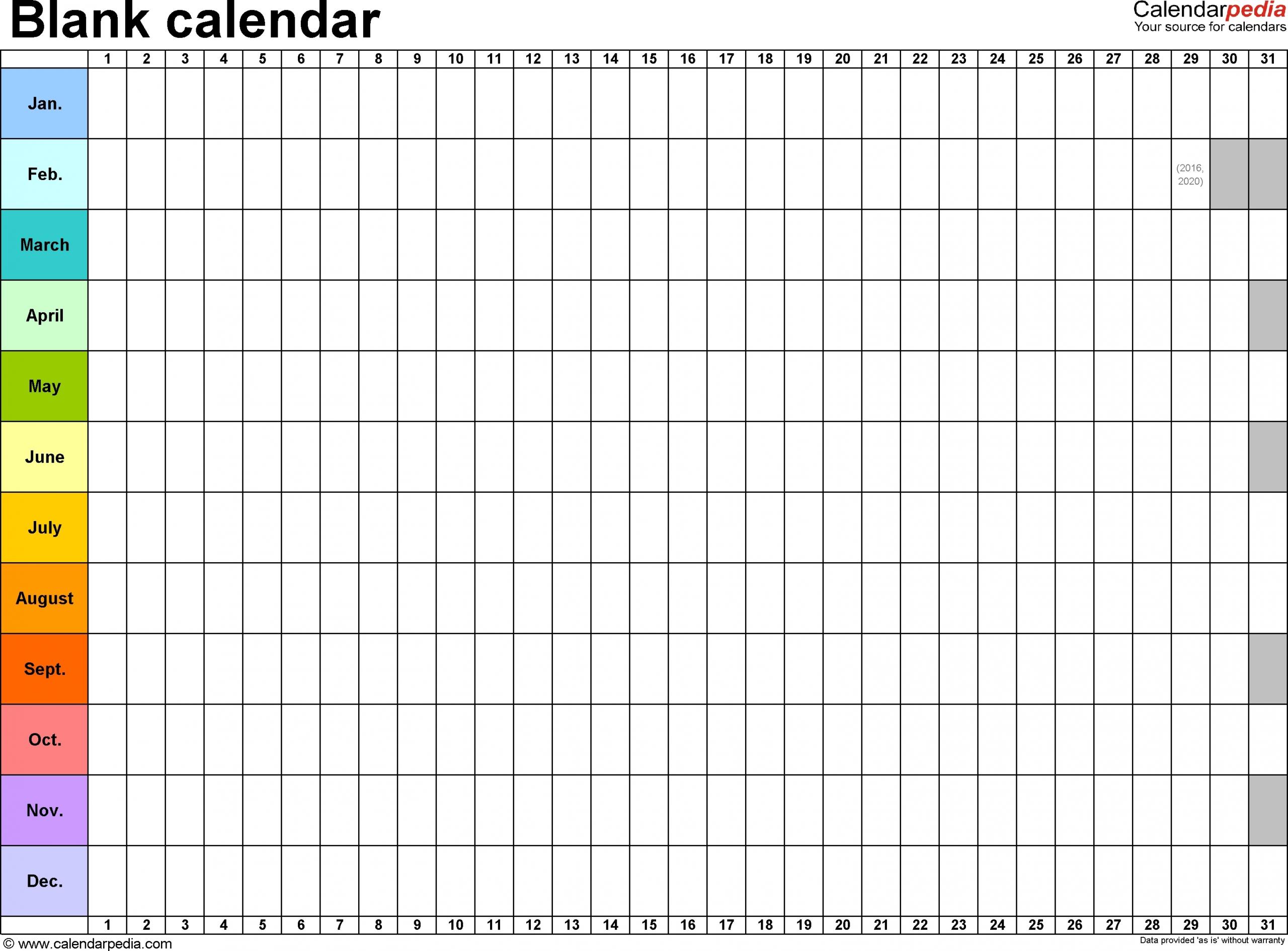 Take 30 Day Calendar Print Out