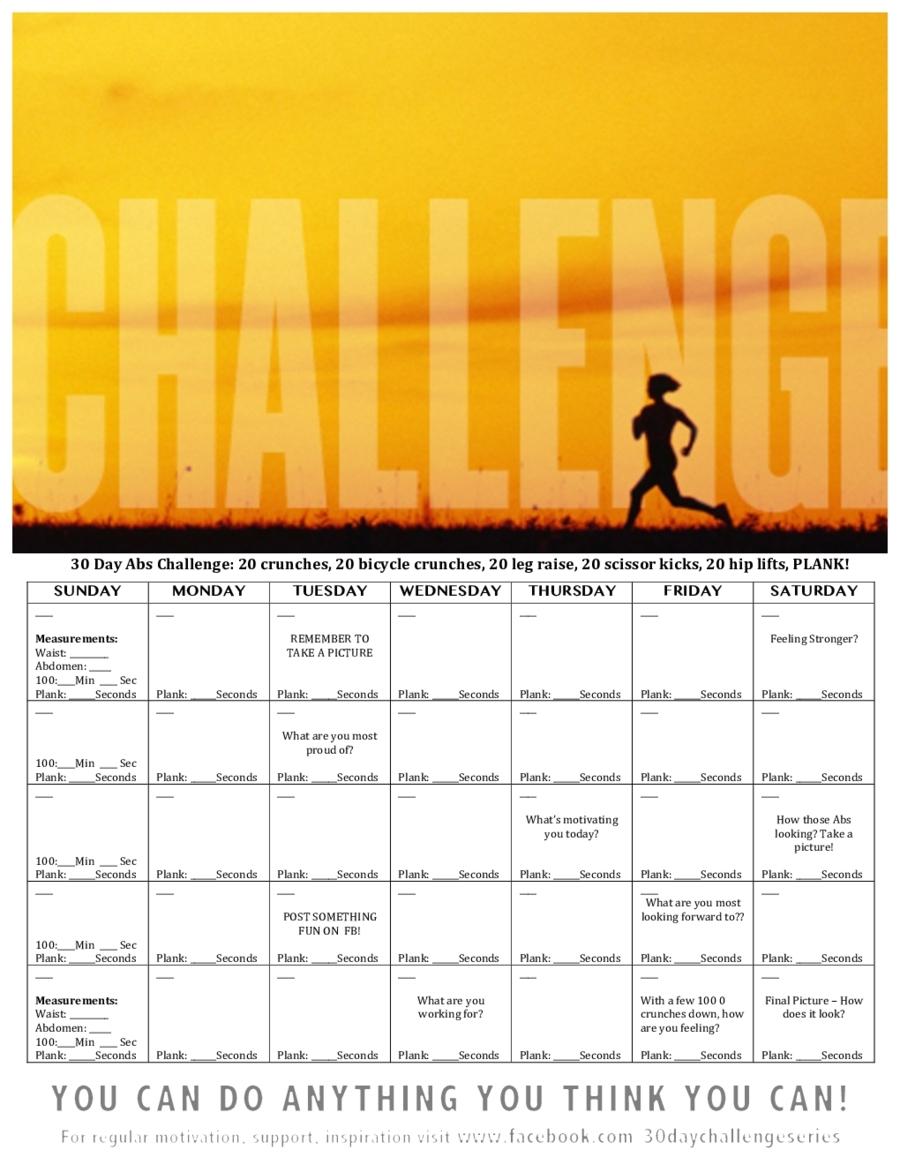 Take 30 Day Calendar
