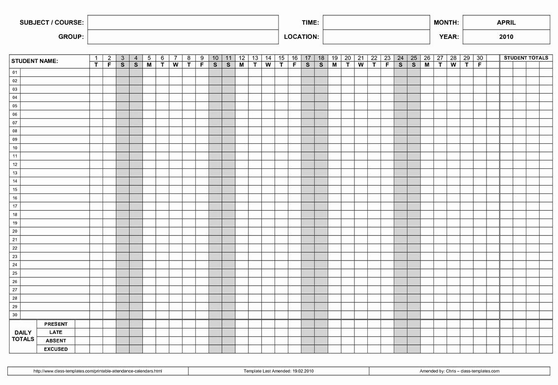 Take Attendance Calendars Free Printable