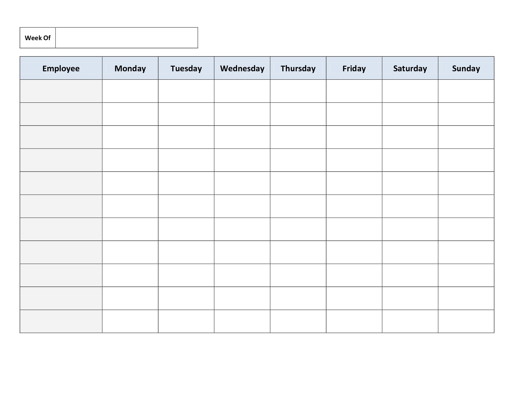 Take Blank Monday – Friday To Do Checklist
