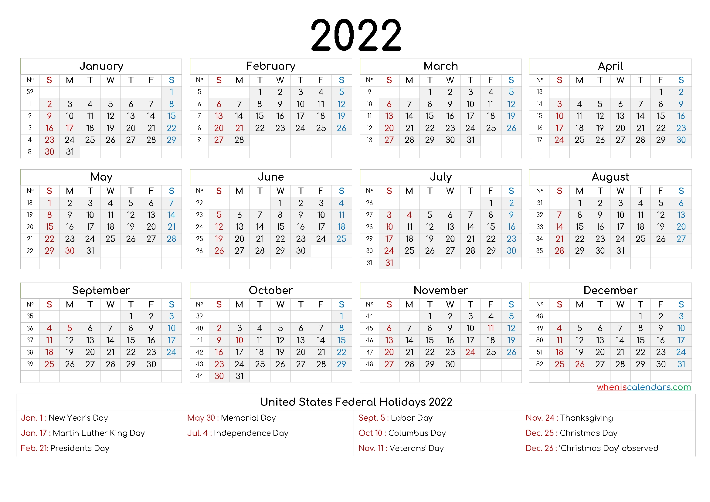 Take Calendar 2021 2022 2022 Printable