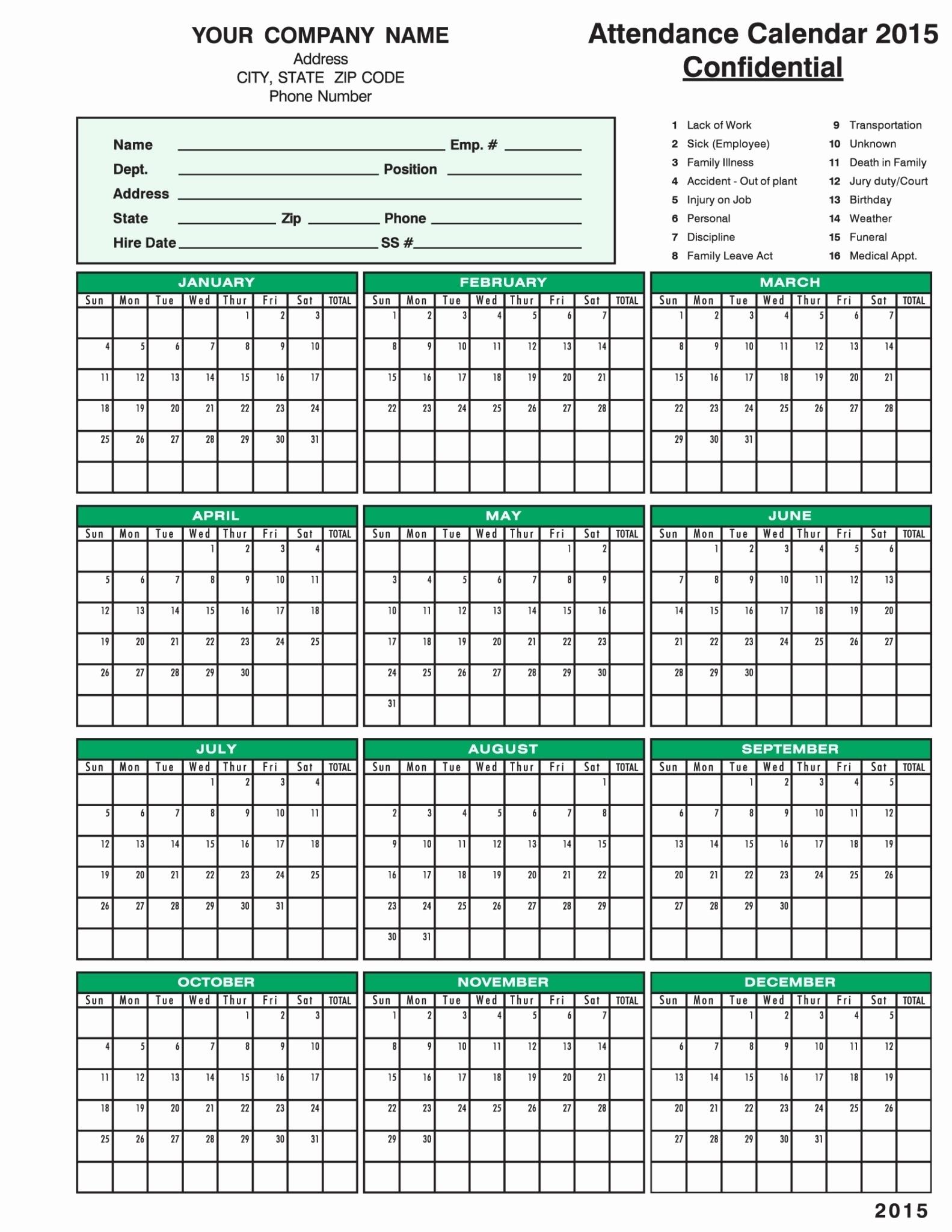 Take Free Attendance Calendar Printable