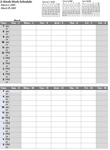Take Free Bi Weekly Editable Schedules