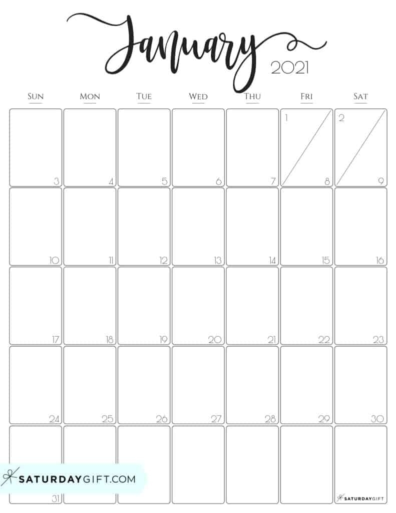 Take Free Printable Calendar 2021 Monthly No Download