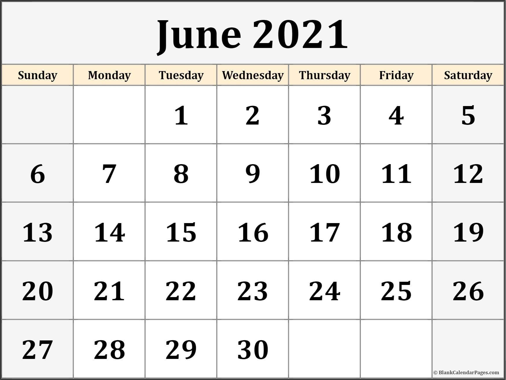 Take June 2021 To June 2021 Calendar
