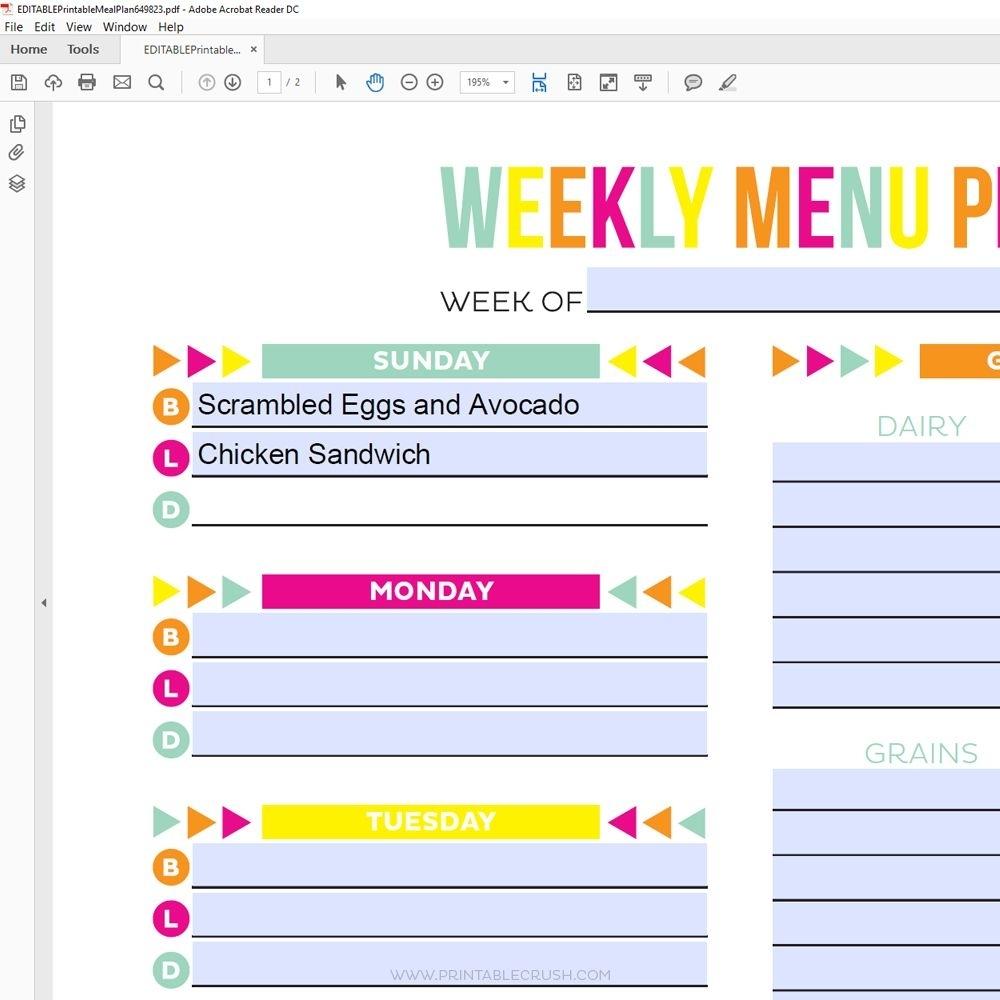 Take Meal Plan Calendar Printable