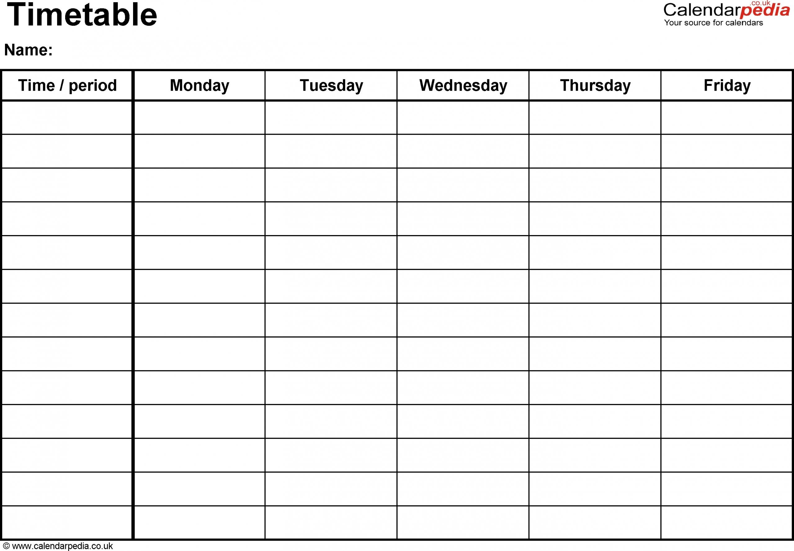 Take Monday Through Friday To Do Templete