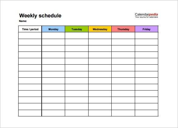 Take Monday To Friday Weekly Calendar