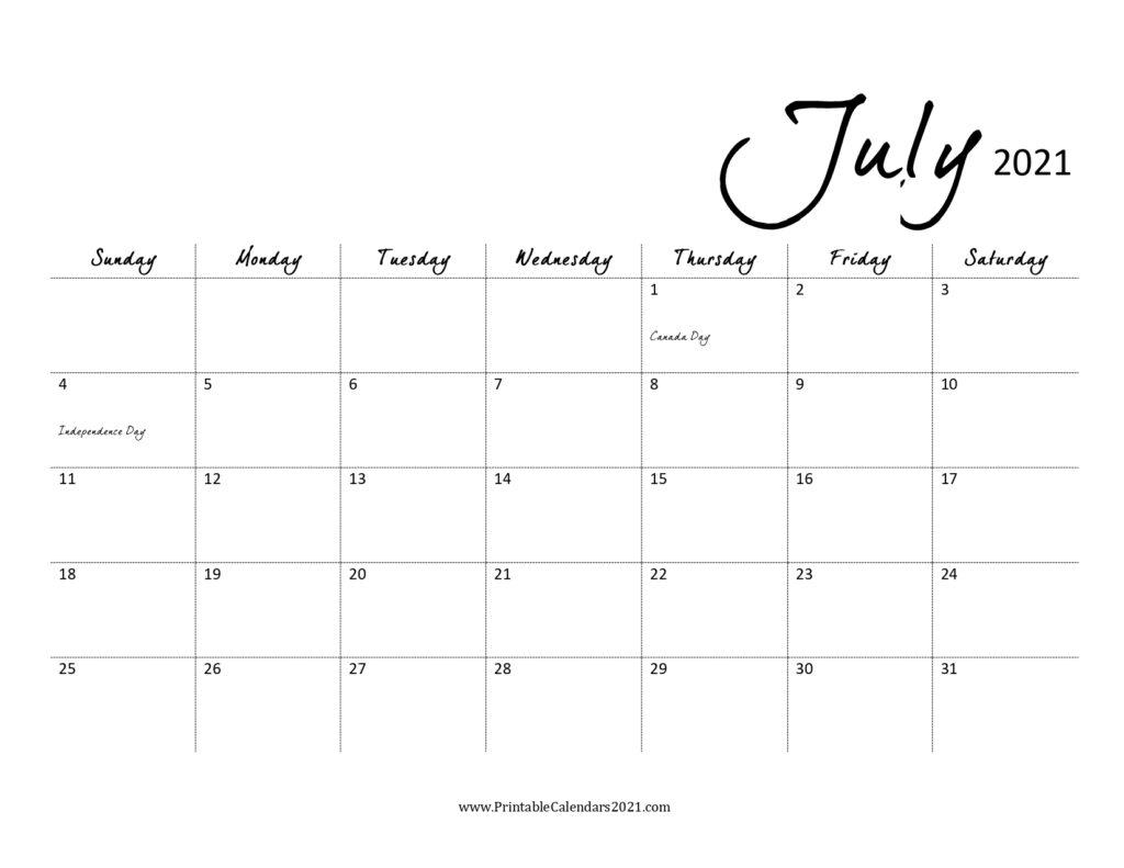 Take Print Free July 2021 Calendar Without Downloading