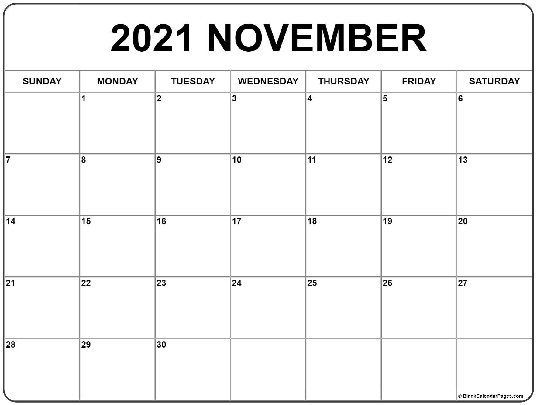 Take Print Free November 2021 Calendar Without Downloading