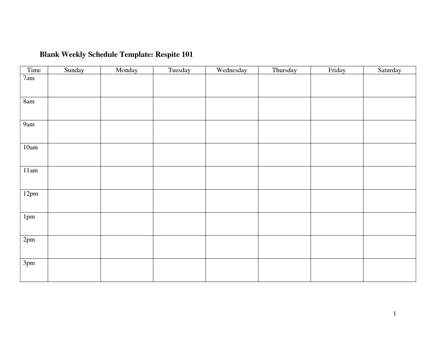 Take Printable Monday Through Friday