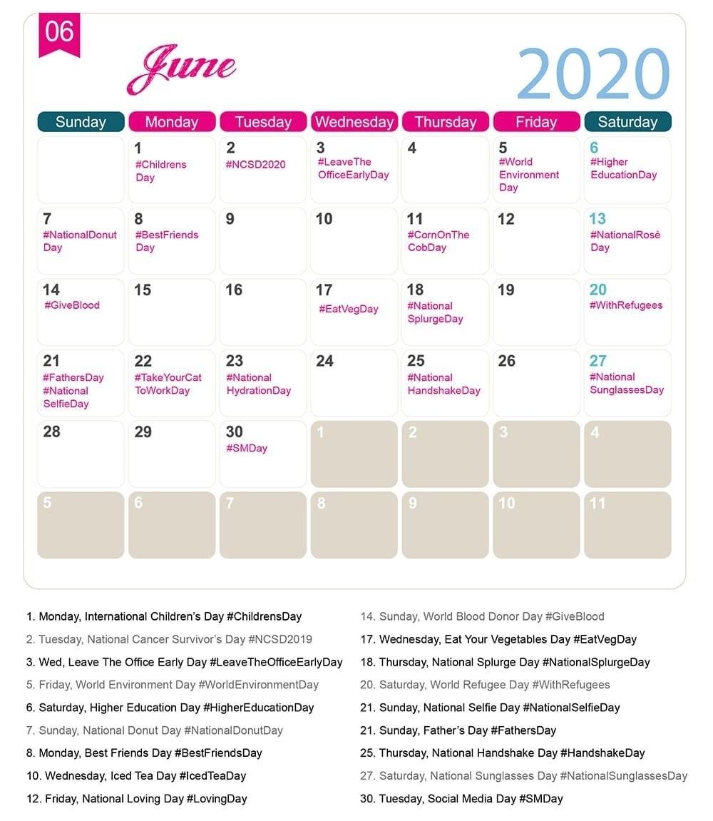 Take Printable National Days Calendar 2021